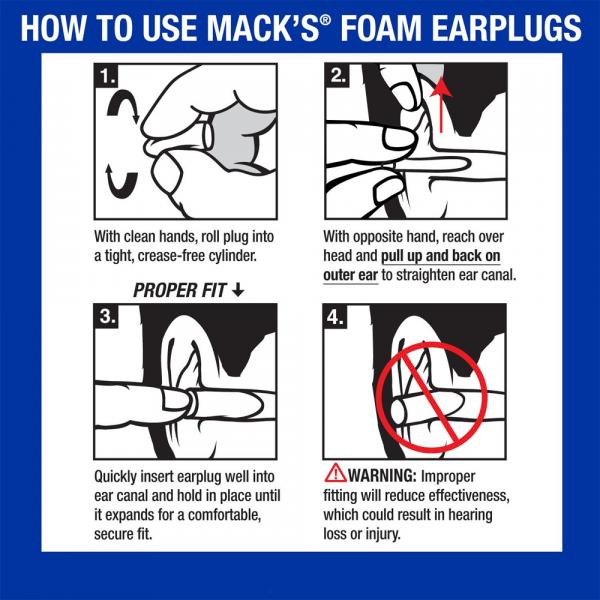 Mack's Snore BLOCKERS Soft Foam Earplugs how to use